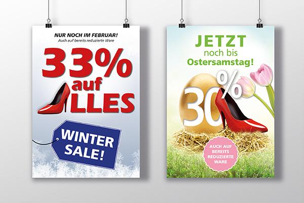 """Poster für das Schuhgeschäft von Frajer zum Thema """"Wintersale"""" und """"Osterrabatt""""."""