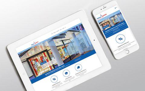 Webseite der Buchner-Apotheke. Ansicht als Tablet und mobil.
