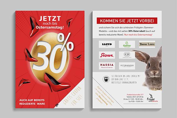 """Zweiseitiger Flyer für das Schuhgeschäft von Frajer zum Thema """"30% Osterrabatt""""."""