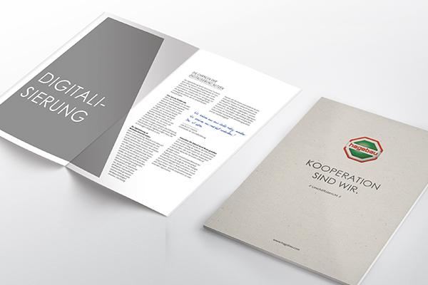 Geschäftsbericht für hagebau. Cover und eine Inhaltsseite sind zu sehen.