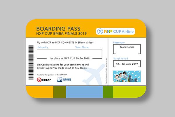 Ein Gewinnerschein, welcher wie ein Boarding Pass am Flughafen designed wurde.