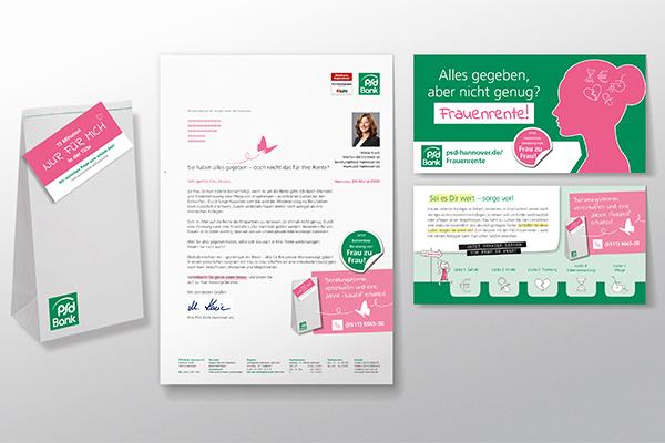 Frauenrente Kampagne der PSD Bank. Zu der Kampagne gehören ein zweiseitiger Flyer, ein Mailing und eine kleine Überraschungstüte.